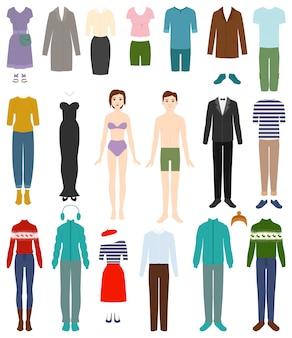 Abbigliamento vettoriale donna o uomo che indossa abiti e accessori femminili o maschili illustrazione di moda set di abbigliamento o abbigliamento