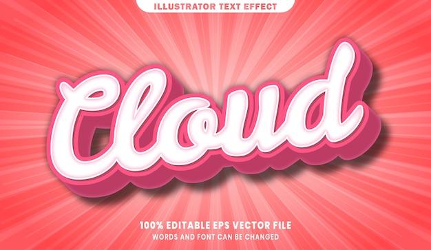 Effetto di stile di testo modificabile 3d della nuvola