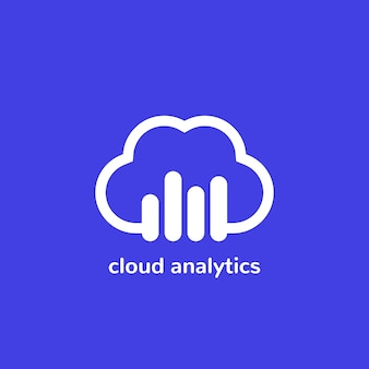 Icona o logo vettoriale di analisi cloud