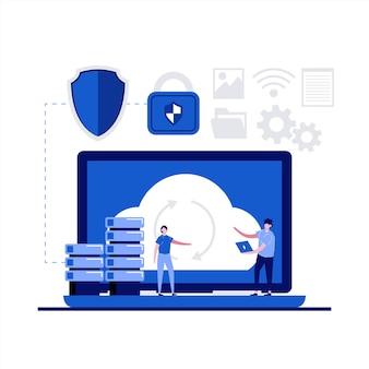 Concetto di soluzione di backup del servizio di backup cloud con carattere.