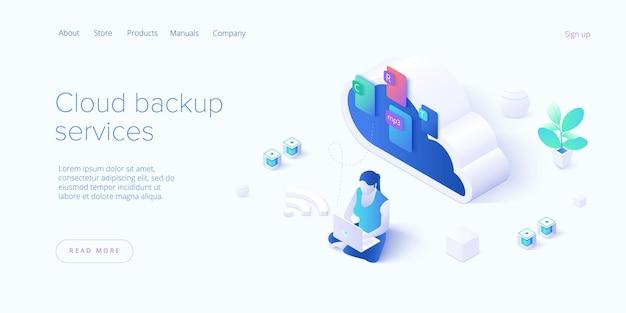 Servizio di backup su cloud nella pagina di destinazione dell'illustrazione isometrica