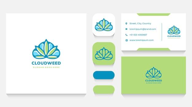 Modello e biglietto da visita con logo nuvola e cannabis