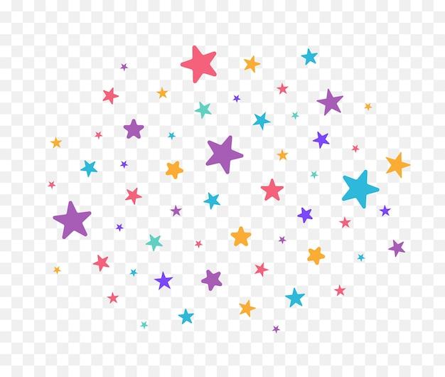 Nuvola di stelle colorate scintilla stelle isolate su sfondo bianco illustrazione vettoriale