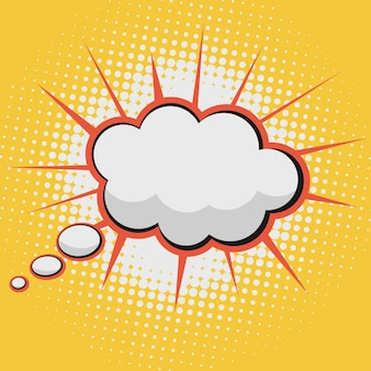 Nuvola per fumetti bolla di testo su uno sfondo con motivo a punti in stile retrò pop-art