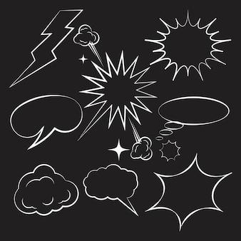 Illustrazione di vettore dell'elemento di disegno del libro di fumetti della nuvola