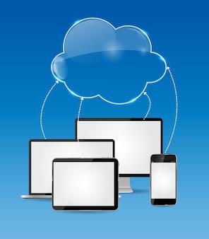 Illustrazione di vettore di concetto di affari di cloud computing. eps10