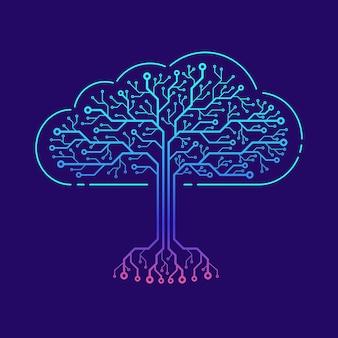 Concetto di cloud computing. nuvola sotto forma di circuito stampato con effetti di luce.
