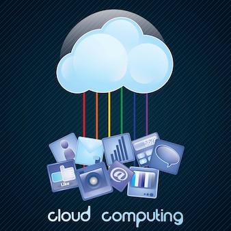 Concetto di cloud computing su sfondo scuro con un sacco di icone illustrazione vettoriale