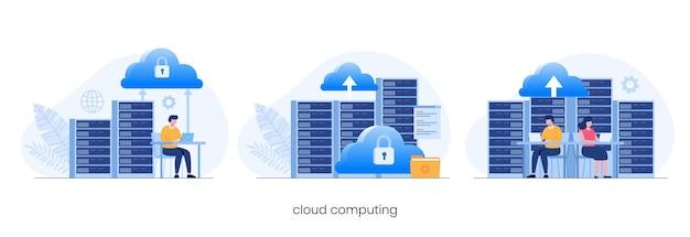 Concetto di cloud computing, data center, gestione dei file, vettore di illustrazione piatta di archiviazione cloud