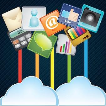 Il cloud computing concetto di design con diverse app su sfondo scuro