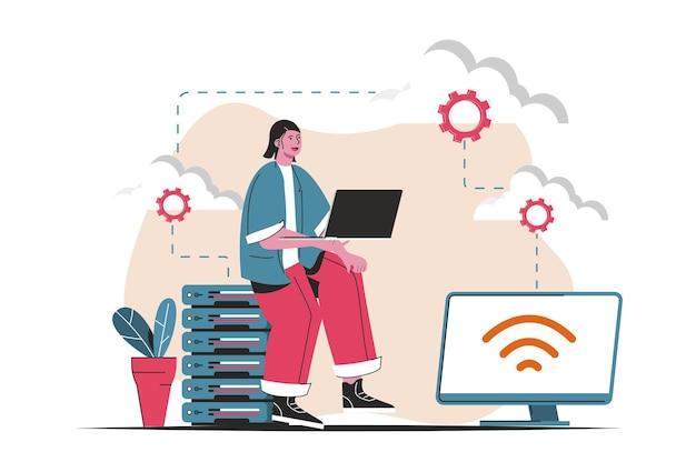 Concetto di cloud computing isolato. tecnologia cloud wireless, archiviazione, connessione. scena di persone nel design piatto del fumetto. illustrazione vettoriale per blog, sito web, app mobile, materiale promozionale.