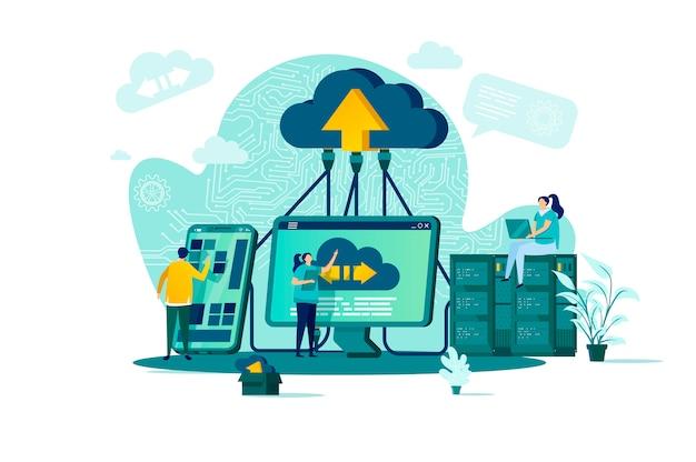 Concetto di cloud computing in stile con personaggi di persone in situazione Vettore Premium