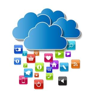 Illustrazione di vettore di concetto di cloud computing isolata. eps10