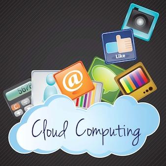 Concetto di cloud computing con applicazioni su sfondo nero