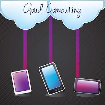 Concetto di cloud computing con smartphone tableton sfondo scuro