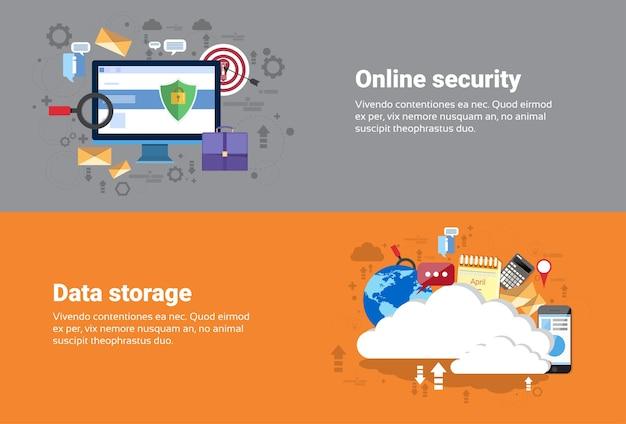 Servizi di archiviazione di database cloud computing, protezione online protezione dei dati tecnologia web banner fla