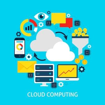 Concetto piatto di cloud computing. illustrazione di vettore di progettazione del manifesto. insieme di oggetti di big data.