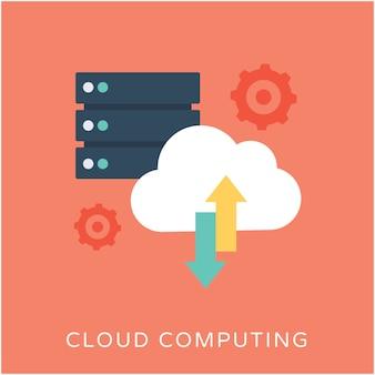 Icona di vettore piatto di cloud computing
