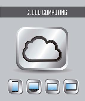 Illustrazione di vettore metallico di icone di cloud computing