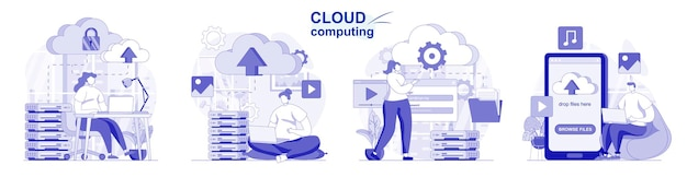Set isolato di cloud computing in design piatto le persone caricano i file di archiviazione ed elaborazione dei dati