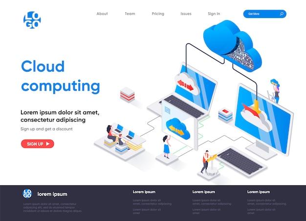 Modello di pagina di destinazione isometrica di cloud computing