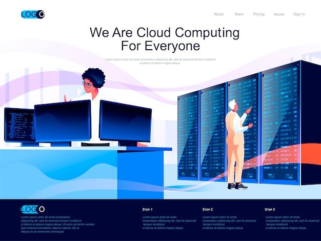 Pagina di destinazione isometrica di cloud computing con situazione di caratteri piatti