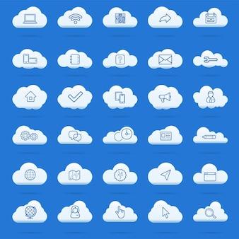 Set di icone lineari di cloud computing. simboli di download, upload, impostazioni e preferenze. icone di blocco, sblocco e cartella. icone di archiviazione dati online. disegni vettoriali isolati di contorno