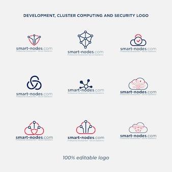 Pacchetto logo cloud computing e sicurezza di rete