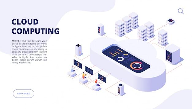 Cloud computing. pagina di destinazione della rete di app per l'hosting di internet per l'accesso sicuro al computer