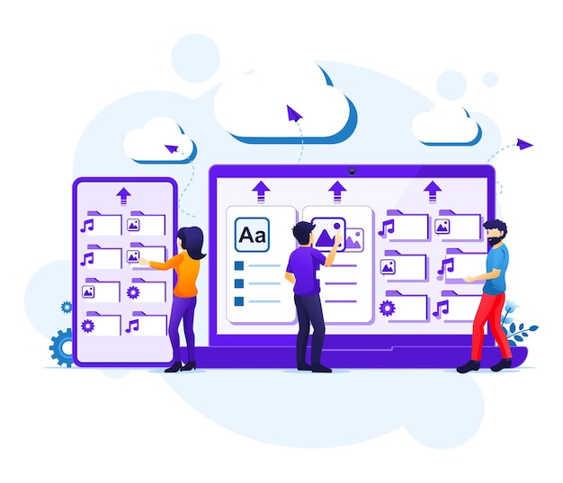 Concetto di servizio di cloud computing, le persone lavorano su dispositivi giganti, illustrazione del data center