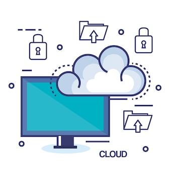 Il cloud computing imposta icone piane