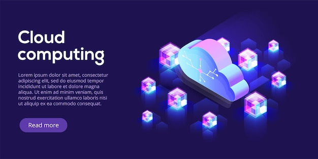 Cloud computing o archiviazione isometrica illustrazione vettoriale server di hosting 3d o rete it in background di data center o infrastruttura mainframe