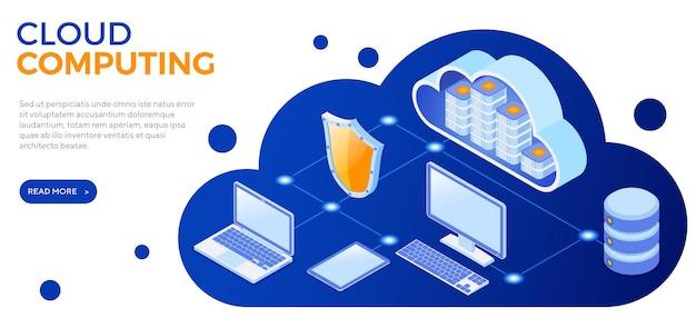 Banner isometrico di tecnologia cloud computing con icone di computer, laptop, tablet e scudo. server di archiviazione cloud di sicurezza. elaborazione di big data. isolato
