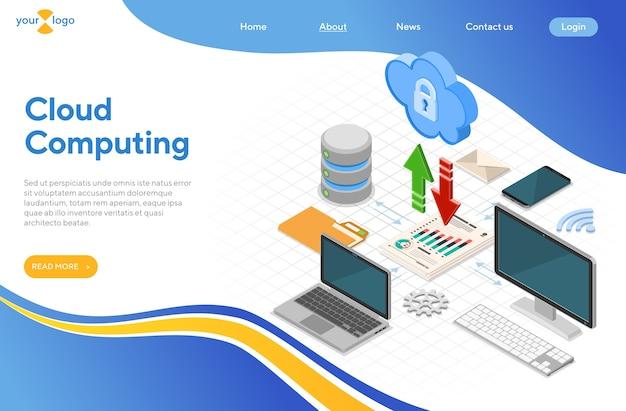 Concetto isometrico di tecnologia di cloud computing con icone di computer, laptop, smartphone, database e freccia. server di archiviazione cloud di sicurezza. modello di pagina di destinazione. isolato