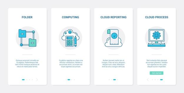 Set di schermate della pagina dell'app mobile onboarding della tecnologia di cloud computing accesso remoto ux