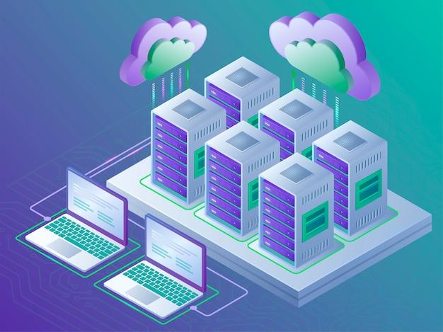 Tecnologia di cloud computing e concetto di sala server. modello di pagina di destinazione. illustrazione isometrica 3d.