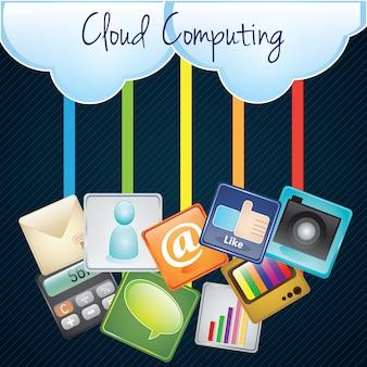 Cloud computing caricare con illustrazione di app su sfondo scuro