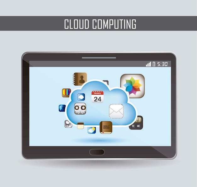 Il cloud computing con icone apps illustrazione vettoriale
