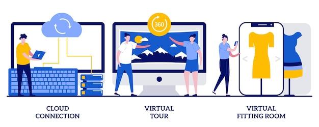 Connessione cloud, tour virtuale, concetto di camerino virtuale con persone minuscole. trasferimento dati online e set di esperienze virtuali. connessione internet.