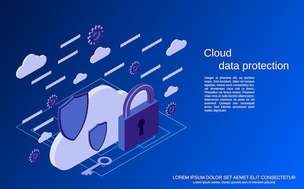 Protezione dei dati cloud, illustrazione di concetto isometrico piatto di sicurezza delle informazioni