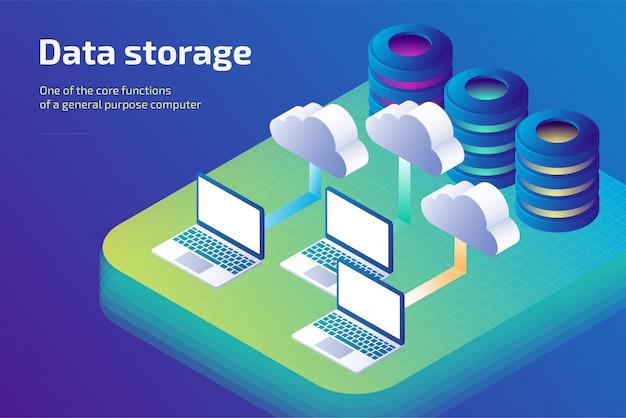Archiviazione dei dati cloud e concetto di archiviazione cloud. modello di pagina di destinazione. illustrazione isometrica 3d.