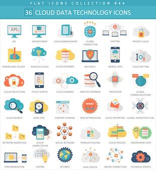 Set di icone piane di tecnologia dati cloud