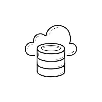 Icona di doodle di contorni disegnati a mano di database cloud. cloud computing, cloud storage, concetto di piattaforma informatica