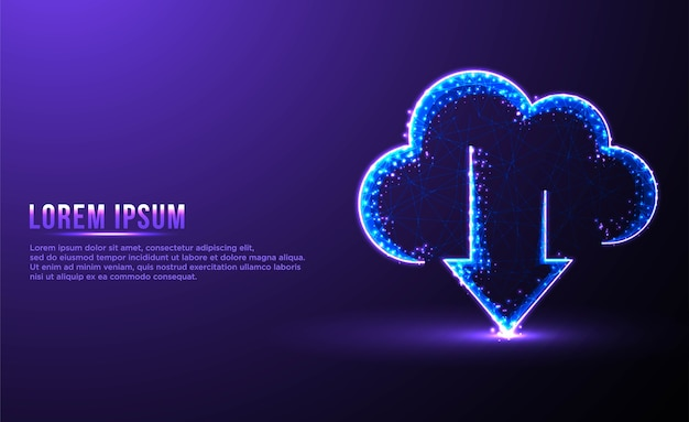 Archiviazione download cloud wireframe low poly