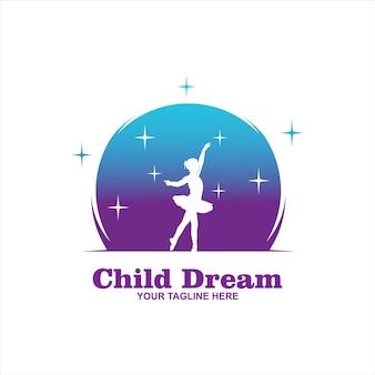 Disegni del logo di cloud dreams, logo di kids dream, modello di logo di child dream