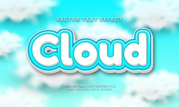 Effetto di testo modificabile nuvola con tema colore cielo blu