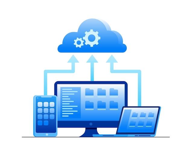 Banner piatto di illustrazione vettoriale del sistema di archiviazione cloud fi