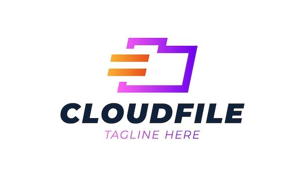 Cloud, cartella, archiviazione, file blu del logo aziendale modello.