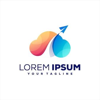 Design del logo a colori sfumati nuvola