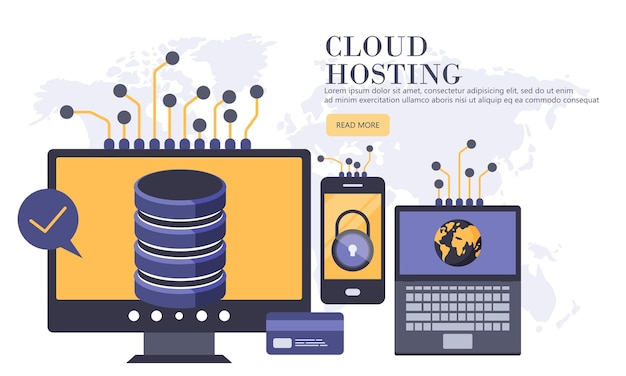 Banner di hosting e server cloud